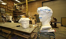 The head of the David in the scenic arts studio at the La Jolla Playhouse.