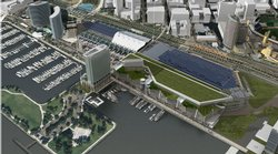 Renderings of the bay side view of the proposed convention center expansion.