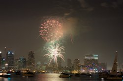 July 4th fireworks over San Diego Bay.