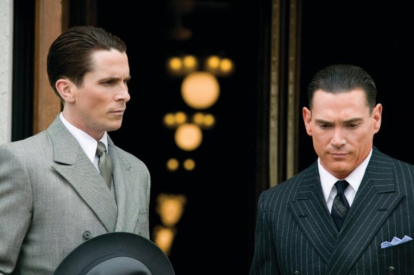"The G-men: Chritian Bale as Melvin Purvis and Billy Crudup as J. Edgar Hoover in ""Public Enemies"""