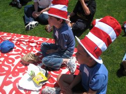 Students donned Dr. Seuss caps as they took part in a number of read-ins.