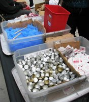 In New York, in addition to distributing clean needles, syringe exchanges distribute alcohol pads, bottle caps (to be used as cookers), and sterile water.