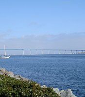 A view of the San Diego-Coronado Bridge, which spans the San Diego Bay.