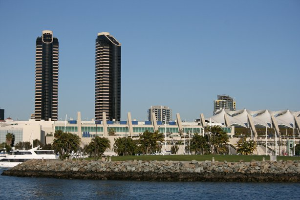 The waterfront 760,000-square-foot San Diego Convention Center opened in 1989...
