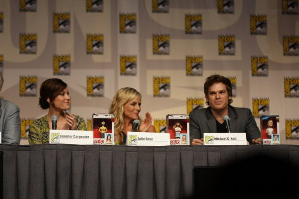 "Michael C. Hall, Julie Benz, and Jennifer Carpenter, cast of ""Dexter."""