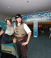 Scott and Gail Folsom visiting the Comic-Con convention floor.