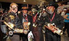 Steampunks on the convention floor.  (1680)
