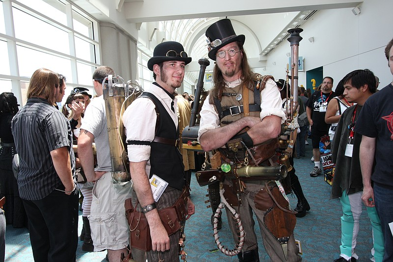 Steampunks waiting to get into the meetup at Comic-Con. You can see the gadge...