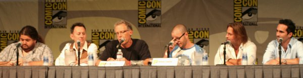 Jorge Garcia (Hurley), Michael Emerson (Ben), Carlton Cuse (Writer, Executive Producer), Damon Lindelof (Writer, Executive Producer), Josh Holloway (Sawyer) and Nestor Carbonell (Richard) on stage for the Lost panel at Comic-Con International on July 25, 2009.