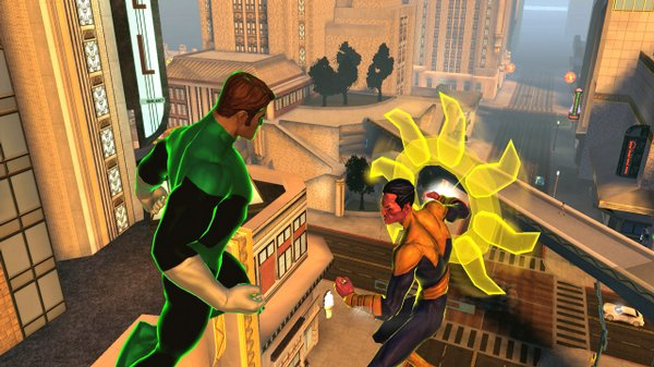 Green Lantern battles Sinestro in this screenshot from DC Universe Online.