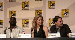 Actors Morris Chestnut and Elizabeth Mitchell speak alongside writer Scott Pe...