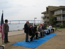Coronado Bridge architect Robert Mosher speaks at a celebration in honor of t...