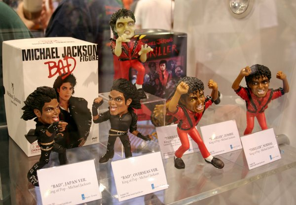 "Michael Jackson figures from Yamato on display at Comic-Con International 2009 ($55 - $70). There are a number of versions. The glow in the dark zombie was a Comic-Con exclusive. Too soon? This one wins the ""In Poor Taste"" award."