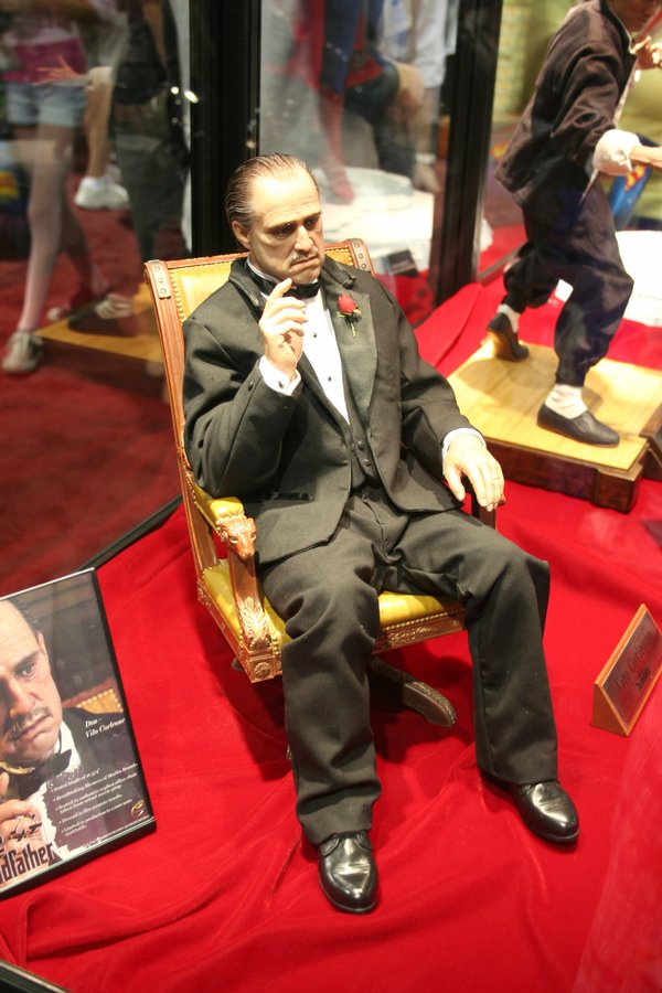 Don Vito Corleone from Hot Toys and Sideshow Collectables on display at Comic-Con International 2009 (12-inch version $170). I don't know how much this limited edition will cost. Seated height is 16 3/4 inches. The run is limited to 1000. This is a beautiful rendering. I'm not sure who really wants one of these. But it's cool.