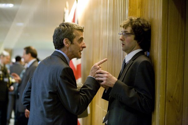 """Malcolm Tucker (Peter Capald)i terrorizes Toby (Chris Addison) in the political comedy """"In the Loop"""""""