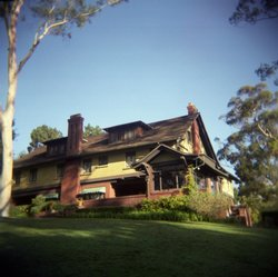 The Marston House Museum sits on grassy hill in Balboa Park, San Diego. The historical mansion was recently re-opened to the public after being temporarily closed because of high cost of maintenance.