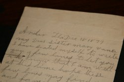 Photo of an old hand-written letter. In 1877 Harvey McLeod, a freed slave, wr...
