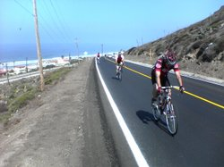 Cyclists climb a hill in the 2005 Rosarito Ensenada Bike Ride.