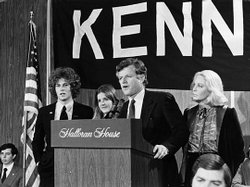Sen. Edward Kennedy speaks after beating President Carter in the New York and Connecticut presidential primaries in March 1980.