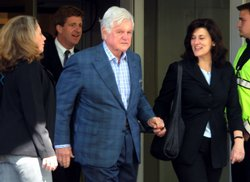 U.S. Senator Edward 'Ted' M. Kennedy (D-MA) (C) leaves Massachusetts General Hospital with his son U.S. Rep. Patrick Kennedy (D-RI)(2nd L) wife Vicki Kennedy (2nd R) May 21, 2008 in Boston, Massachusetts.