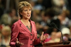 Carly Fiorina speaks during day three of the Republican National Convention (RNC) at the Xcel Energy Center on September 3, 2008.