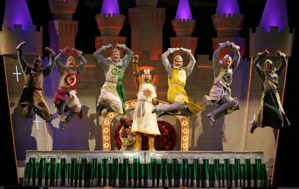 "All singing, all talking, all dancing knights of the round table in ""Spamalot"""
