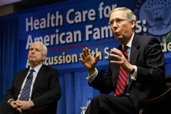 U.S. Sen. John McCain (R-AZ) and Sen. Mitch McConnell (R-KY) participate in a health care forum at Palmetto General Hospital on September 1, 2009 in Hialeah, Florida.