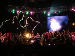 Dozens of fans dance on stage with Girl Talk at Street Scene 2009.