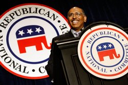 Embattled Republican National Committee Chairman Michael Steele addresses a meeting of state party chairmen May 20, 2009 in Baltimore, Maryland.