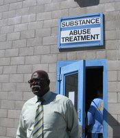 Coordinator Thomas Alexander leaves the prison's substance abuse recovery facility.