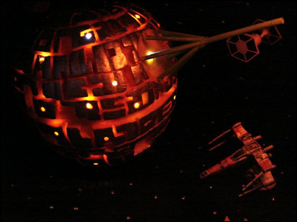"""Star Wars"" Death Star inspired pumpkin."
