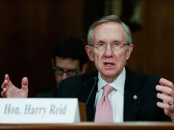Senate Majority Leader Harry Reid testifies during a Senate Judiciary Committ...