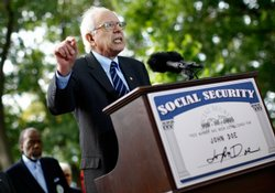 Sen. Bernie Sanders (I-VT) speaks at a news conference presenting petitions t...