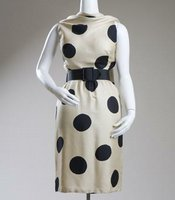 French-born designer Pauline Trigère designed this black and white, polka dot dress around 1970.
