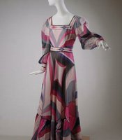 Italian designer Emilio Pucci made this bold and colorful dress around 1972. It was worn by Kathryn Strope Colachis, a San Diego philanthropist.