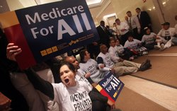 Health care reform supporters rally for Medicare for all on September 29, 2009 in New York City.