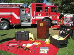 Two of the fast response kits firefighters can use to put out spot fires.