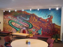 "This mural entitled ""La Memoria de Nuestra Tierra"" was completed for USC by Chicana muralist Judith Baca."