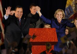 Republican New Jersey Governor-elect Chris Christie (L) and Lt. Governor-elec...