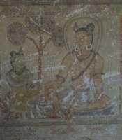 Painting of mahasiddhas — tantric practitioners — inside a cave in Upper Mustang, Nepal.