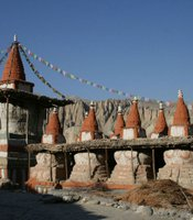 Chortens – Buddhist monuments – in Upper Mustang, Nepal.