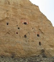 A cave complex in Upper Mustang, Nepal.