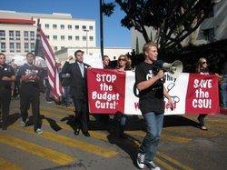 SDSU Associated Students President Tyler Boden leads the campus-wide rally.