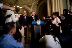 ks on during a news conference following the Senate's cloture vote on health care reform legislation on Capitol Hill on November 21, 2009 in Washington, DC.