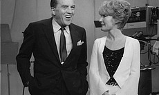 """Ed Sullivan chats with Petula Clark, who performs her Grammy-winning evergreen, """"Downtown."""""""
