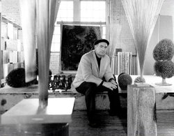 Furniture designer Harry Bertoia, famous for Knoll series of wire chairs, onc...