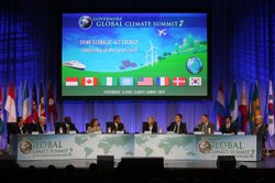 A panel discussion is held as U.S. governors and international leaders convene at the Governors' Global Climate Summit 2 on September 30, 2009 in Century City, California.