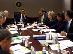 President Obama holds a meeting on Afghanistan in the Situation Room of the W...