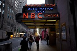 Pedestrians walk in front of NBC Studios on 50th Street on December 1, 2009 i...
