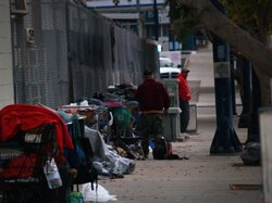 The homeless wake-up early, around 6 a.m., in downtown San Diego on the morni...